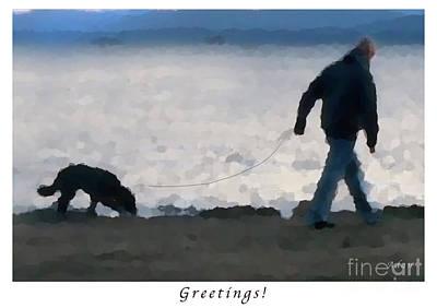 Walking The Dog Digital Art - Evening Walk Along Lake Champlain - Greeting Card And Poster by Felipe Adan Lerma