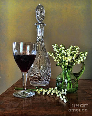 Evening Wine And Flowers  Print by Luther Fine Art