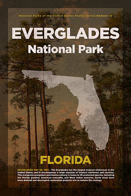 National Parks Mixed Media - Everglades National Park In Florida Travel Poster Series Of National Parks Number 15 by Design Turnpike