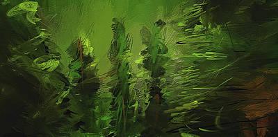 Modern Abstract Painting - Evergreens - Green Abstract Art by Lourry Legarde