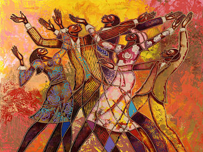 African-americans Painting - Every Round Goes Higher by Larry Poncho Brown