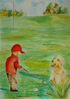 Everything Waits While I Golf Art Original by Geeta Biswas