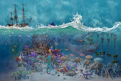 Octopus Digital Art - Everything Under The Sea by Betsy Knapp