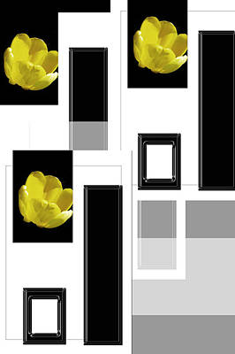 Everything Yellow White Black Print by Tina M Wenger