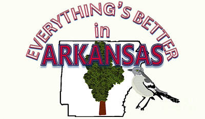 Mockingbird Drawing - Everything's Better In Arkansas by Pharris Art