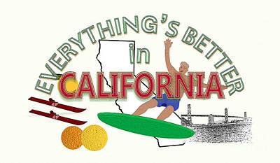 Grapefruit Drawing - Everything's Better In California by Pharris Art