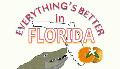 Grapefruit Drawing - Everything's Better In Florida by Pharris Art