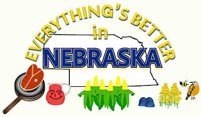 Meadowlark Drawing - Everything's Better In Nebraska by Pharris Art