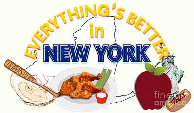 Cooperstown Drawing - Everything's Better In New York by Pharris Art