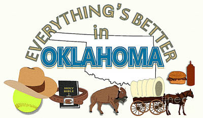 Softball Drawing - Everything's Better In Oklahoma by Pharris Art