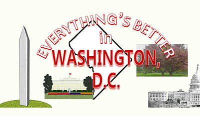 Washington Monument Drawing - Everything's Better In Washington, D.c. by Pharris Art