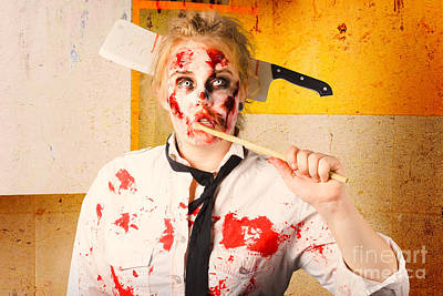 Cannibalism Photograph - Evil Zombie Chef Thinking Up Unhealthy Food Idea by Jorgo Photography - Wall Art Gallery