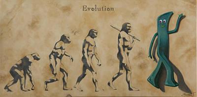 Darwin Painting - Evolution by Judy Sherman