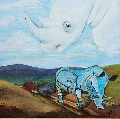 Poachers Painting - Evolution Of The Rhinocerotidae    by Jeanne Silver