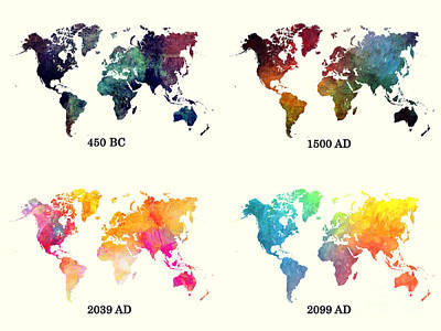 Watercolor Digital Art - Evolution Of The World Map by Justyna JBJart