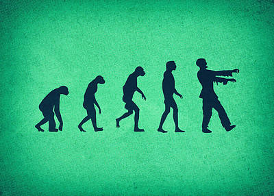 Evolution Of Zombies Zombie Walking Dead Print by Philipp Rietz