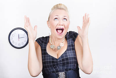 Aghast Photograph - Excited Business Woman Meeting Time Schedule  by Jorgo Photography - Wall Art Gallery