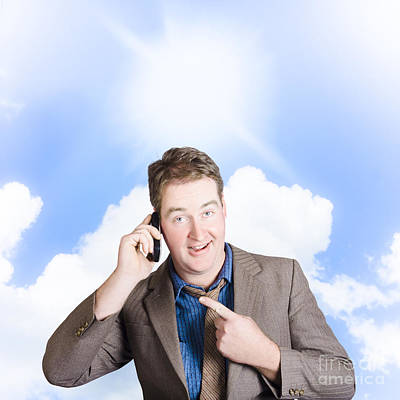 Excited Man On Mobile Phone. Yes Got The Job Print by Jorgo Photography - Wall Art Gallery