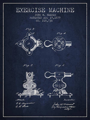 Technical Drawings Drawing - Exercise Machine Patent From 1879 - Navy Blue by Aged Pixel
