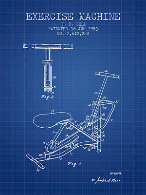Exercise Machine Patent From 1953 - Blueprint Print by Aged Pixel