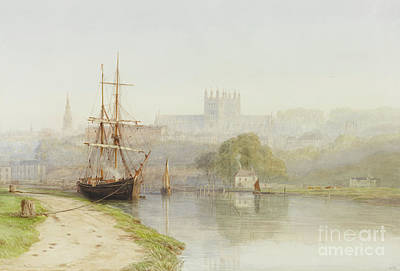 River Scenes Drawing - Exeter Canal Below Exeter Cathedral by Arthur Henry Enock