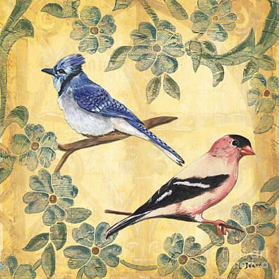 Bluejay Mixed Media - Exotic Bird Floral And Vine 1 by Debbie DeWitt