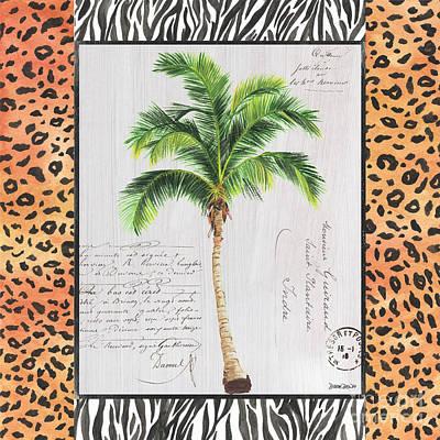 Zebra Mixed Media - Exotic Palms 1 by Debbie DeWitt