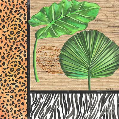 Zebra Mixed Media - Exotic Palms 2 by Debbie DeWitt