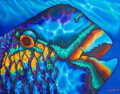 Batik Painting - Exotic Parrotfish by Daniel Jean-Baptiste