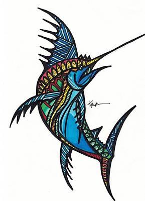 Swordfish Drawing - Exotic Swordfish by Kayla Roeber