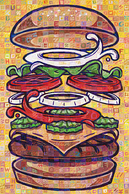 Cheeseburger Painting - Expanded Cheeseburger Whopper With Cheese by Randal Huiskens