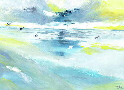 Abstract Beach Landscape Drawing - Expanse by Anil Nene