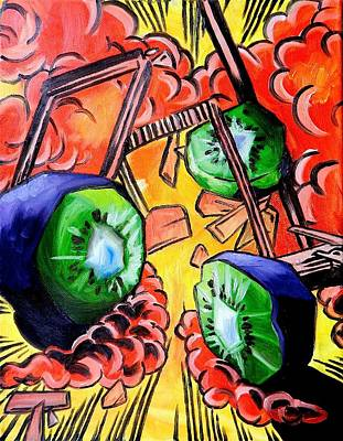 Kiwi Painting - Exploding Kiwis by Lucy Loo Wales