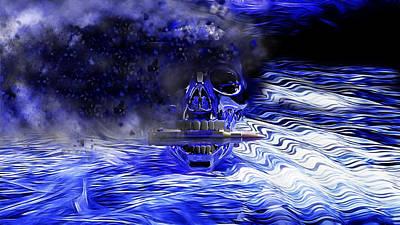 Skull Cards Mixed Media - Exploding Skull by Ericamaxine Price