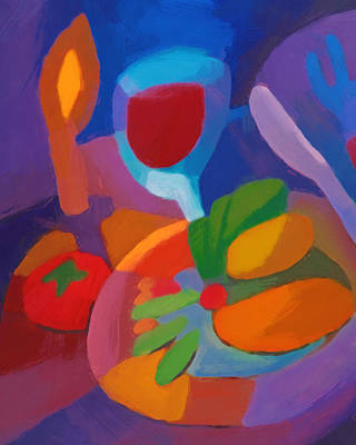 Colorful Abstract Painting - Expressive Dinner by Lutz Baar