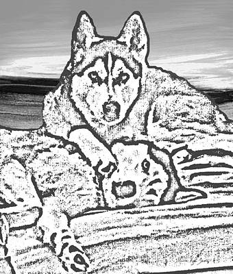 Pallet Knife Digital Art - Expressive Huskies Mixed Media G51816_e by Mas Art Studio