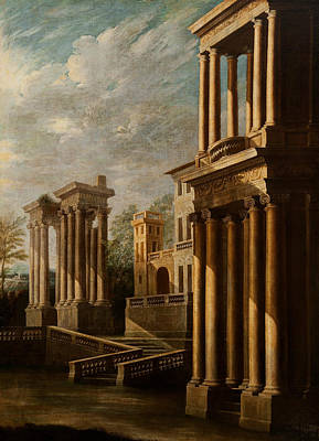 Italian Landscape Painting - Exterior View Of Buildings by Leonardo Coccorante