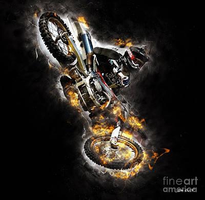Racetrack Digital Art - Extreme Motorbike Jump #2 by Dennis Wat