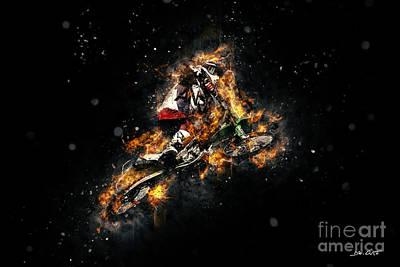 Racetrack Digital Art - Extreme Motorbike Jump by Dennis Wat