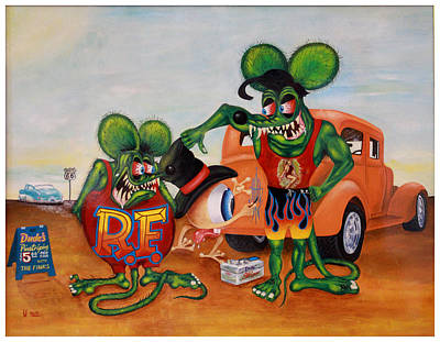 Hot Rod Painting - Eye Ball And Rat Fink by Sal Cabrera