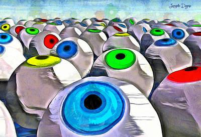 Round Painting - Eye Farming - Pa by Leonardo Digenio
