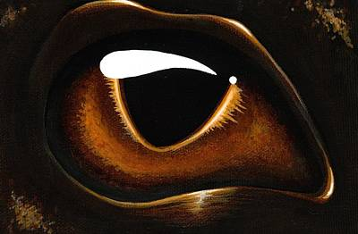 Dragon Eye Painting - Eye Of Baby Bronze by Elaina  Wagner
