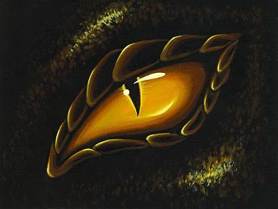 Dragon Painting - Eye Of Golden Embers by Elaina  Wagner