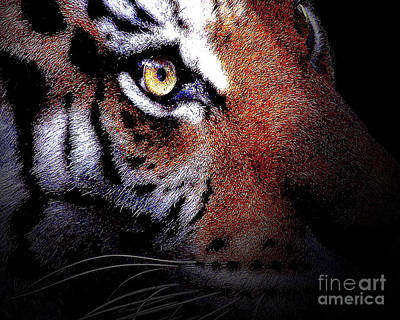 Siberian Digital Art - Eye Of The Tiger by Wingsdomain Art and Photography
