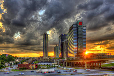 Welded Art Photograph - Eyecatcher Sunset Atlantic Station by Reid Callaway