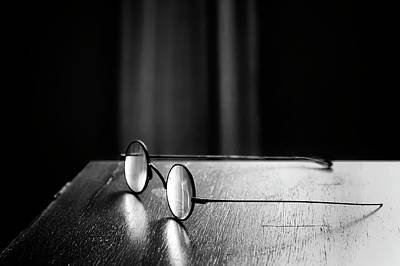 Glass Table Reflection Photograph - Eyeglasses - Spectacles by Nikolyn McDonald