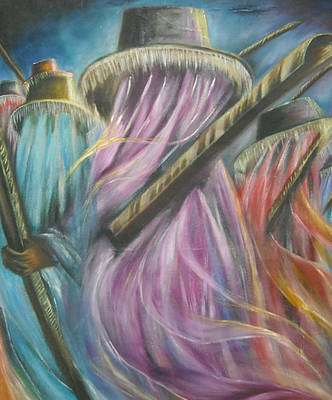 Bamboo House Painting - Eyo Masquerade Colorful by Olaoluwa Smith