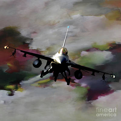 Lockheed Aircraft Painting - f 16 Falcon fighter 021 by Gull G