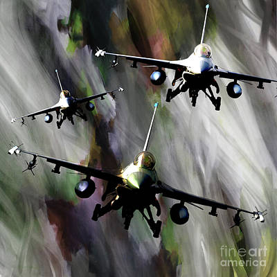 Lockheed Aircraft Painting - f 16 Falcon fighters by Gull G