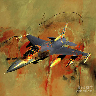 Lockheed Aircraft Painting - F 16 Fighting Falcon 011c by Gull G